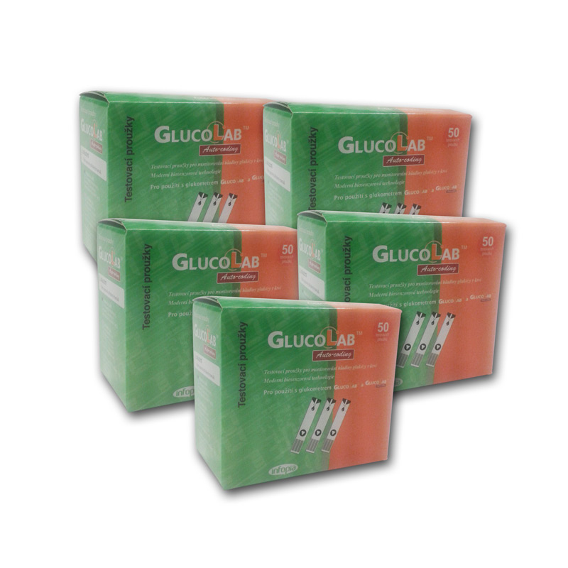 Testovací proužky GlucoLab 250 ks